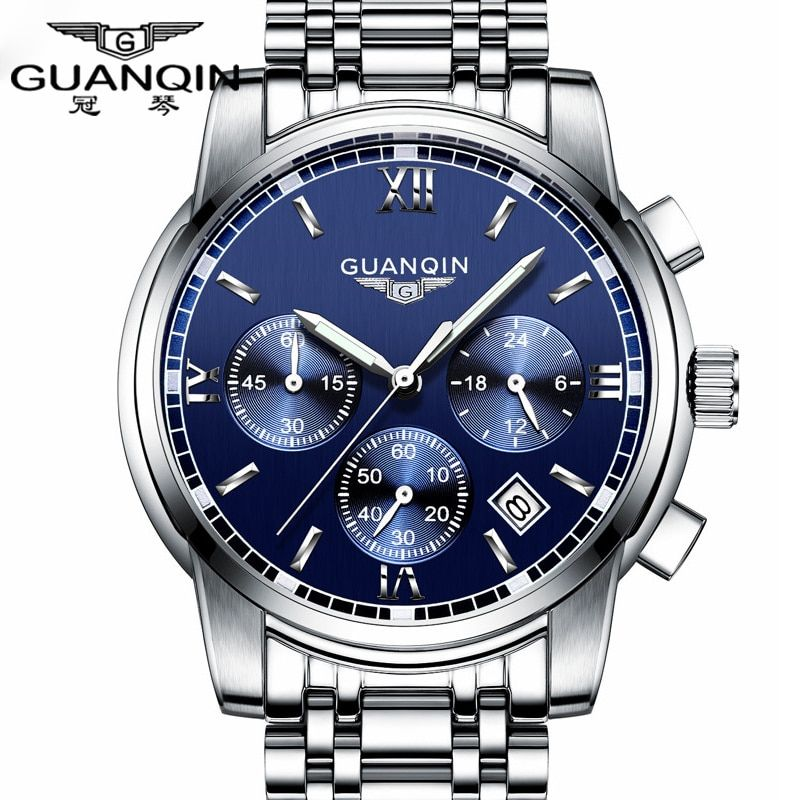Fashion Watch men Luxury top brand <font><b>GUANQIN</b></font> steel men watch luminous waterproof Wristwatch multifunction Men Clock quartz watch