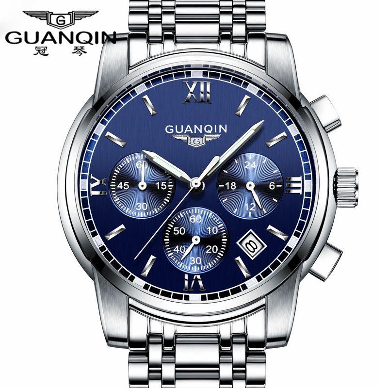 Fashion Watch men <font><b>Luxury</b></font> top brand GUANQIN steel men watch luminous waterproof Wristwatch multifunction Men Clock quartz watch