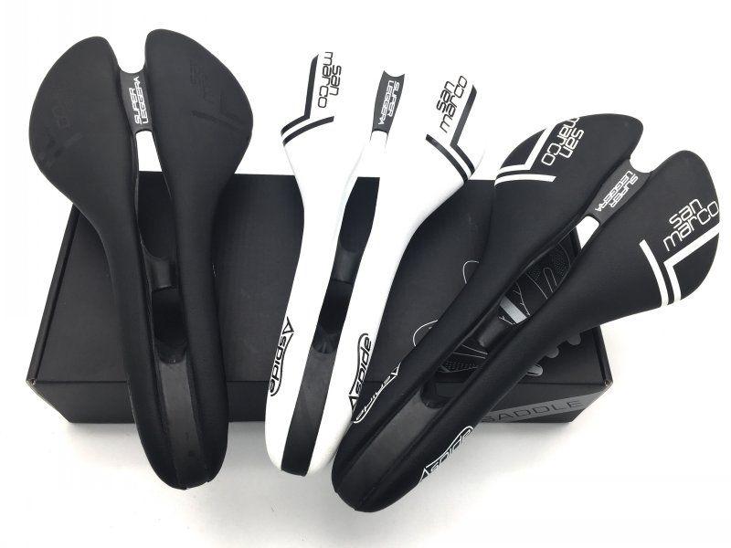 3 colors San Marco ASPIDE saddle <font><b>road</b></font> bike black white Carbon Fiber Leather saddles bicycle sillin bici Rail bow cushion120+/5g
