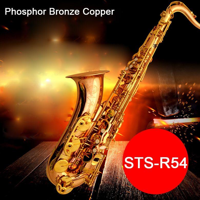 Professionelle Tenor Saxophon Selma STS 54 B (b) flache Sax Phosphor Bronze Kupfer saxofone musical instrument mundstück mit Fall