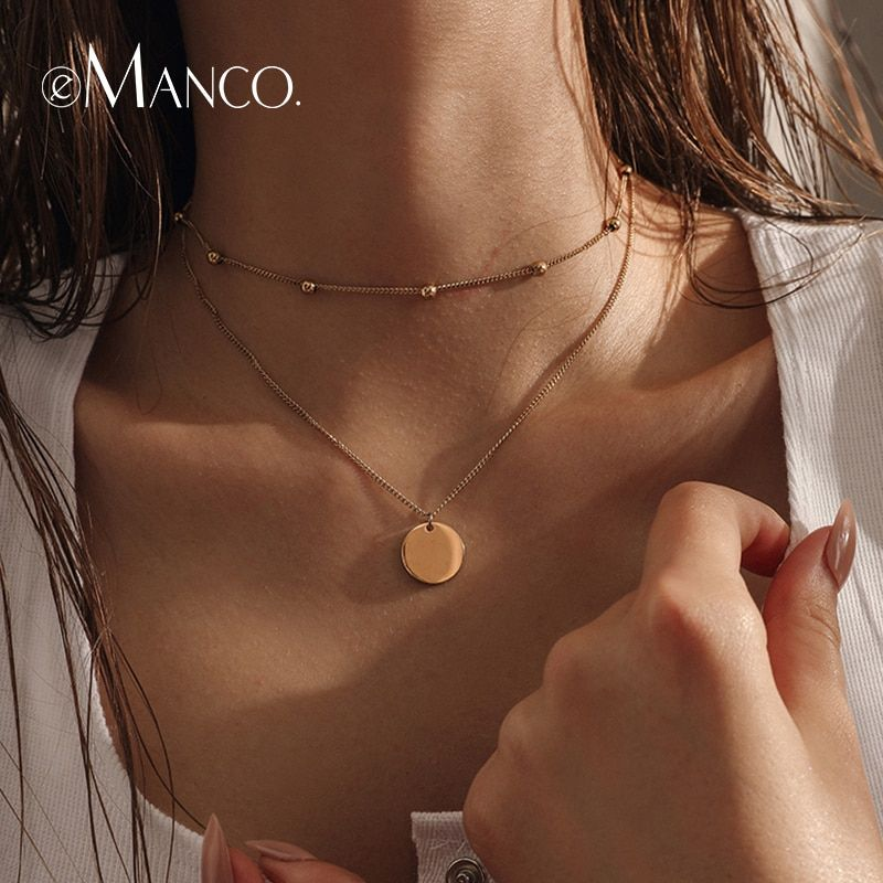 e-Manco Gold Color Statement Necklace Luxury Choker Necklaces for Women Classic Women Fashion Jewelry Best Gifts For Friends