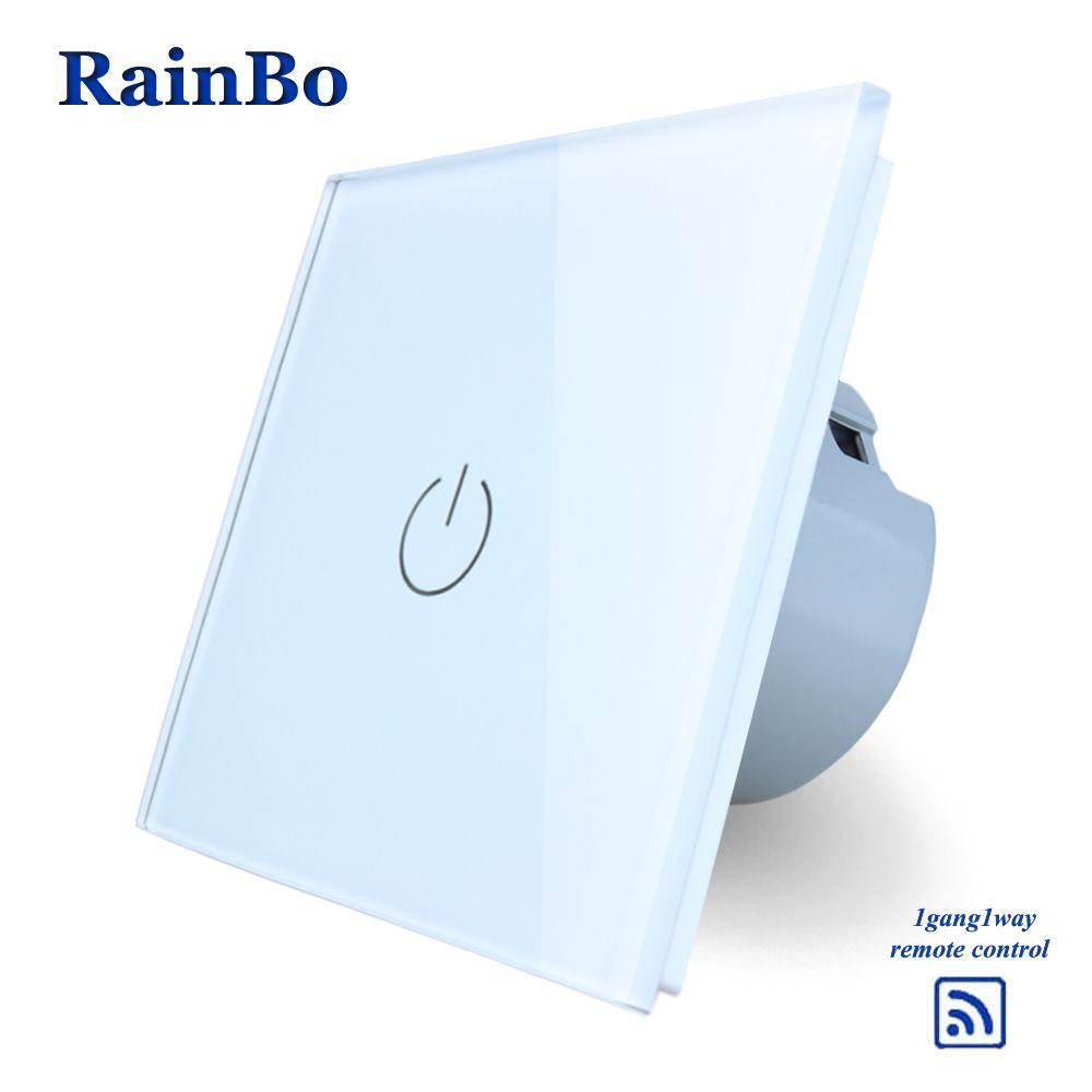 RainBo Screen Crystal Glass Panel Remote Touch switch Switch EU Wall Switch AC110~250V Light Switch 1gang1way LED Lamp A1913W/B