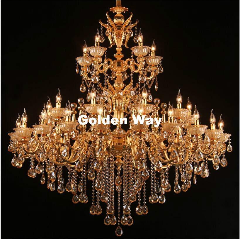 Free Shipping Golden Crystal Chandelier Lamp Lustres Cristal Suspension Project Lighting Hotel Resteruant Villa Luminaire Lights