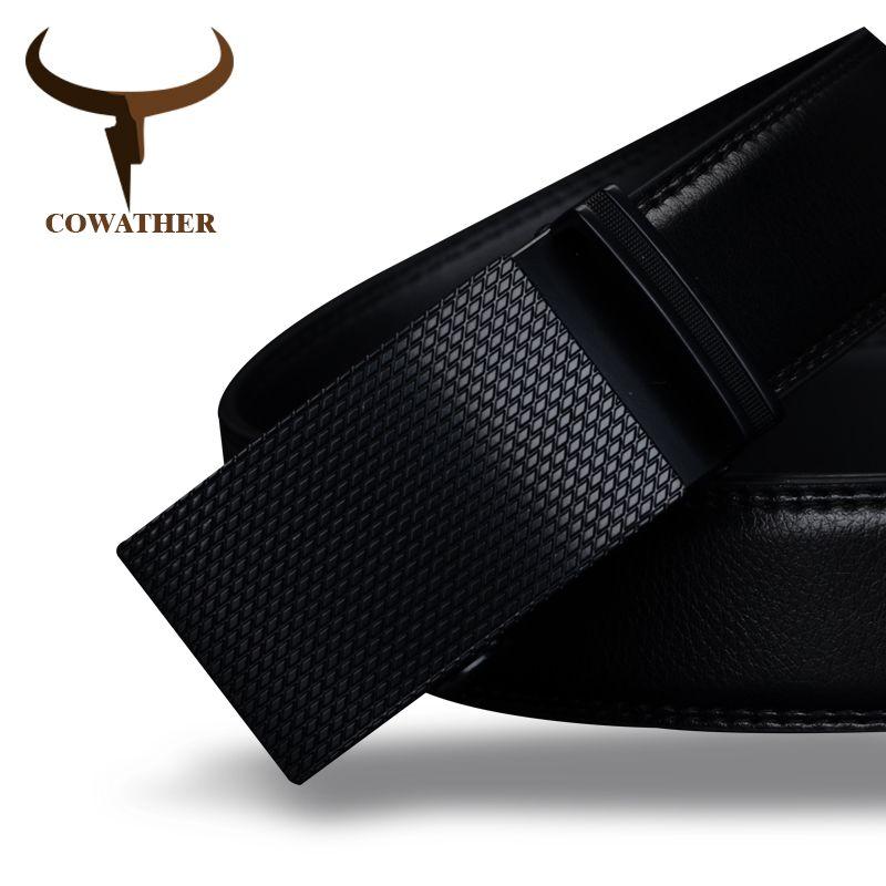 COWATHER Хорошие мужские пояса роскошь высокое качество корова натуральная кожа пояса для мужчин автоматическая пряжка мода талии мужчины бес...