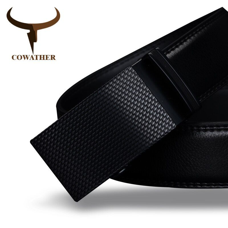 COWATHER Good mens belt luxury high quality cow genuine <font><b>leather</b></font> belts for men automatic buckle fashion waist male free shipping