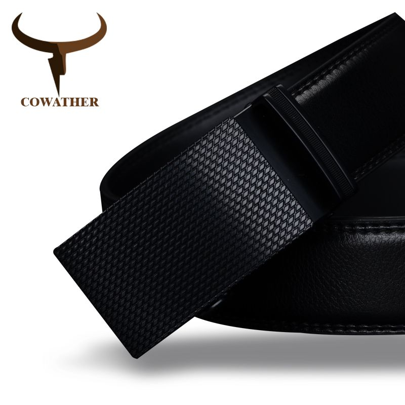 COWATHER Good mens belt luxury high quality cow genuine leather belts for men automatic buckle fashion <font><b>waist</b></font> male free shipping