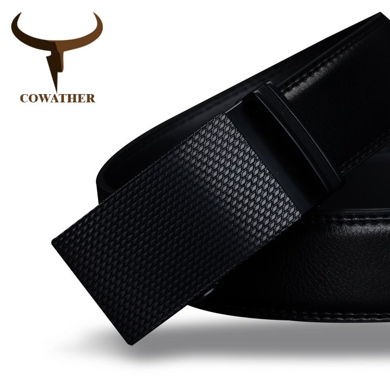 COWATHER <font><b>Good</b></font> mens belt luxury high quality cow genuine leather belts for men automatic buckle fashion waist male free shipping