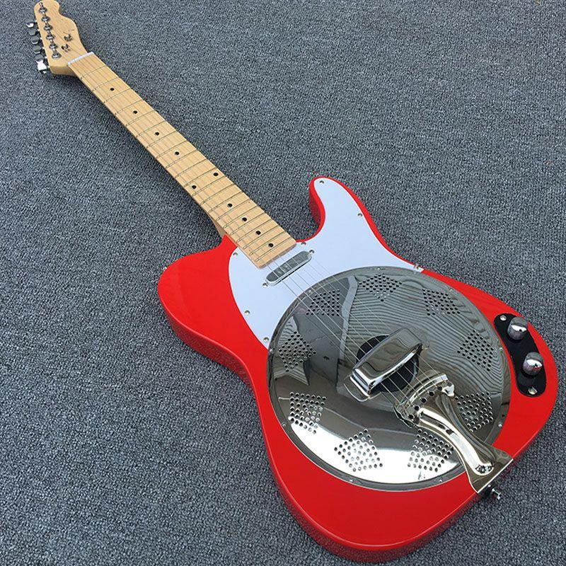 Neue, tele e-gitarre, Die großen roten E-gitarren Dobro-Resonator Stahl Elektrische Gitarre mit Flamme maple top, e-gitarren dobro Guitarra, Real photo, heißer