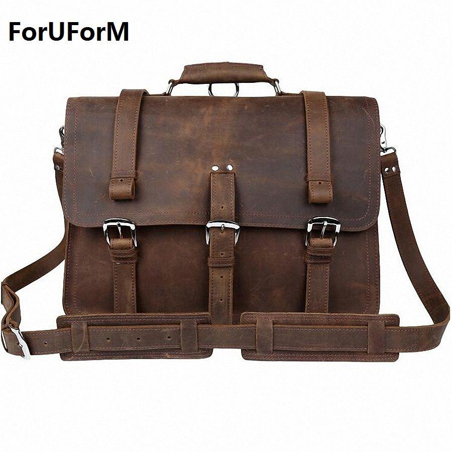 Newest High Quality Crazy Horse Mens Vintage Genuine Leather Messenger Shoulder Bag Briefcase 15.6