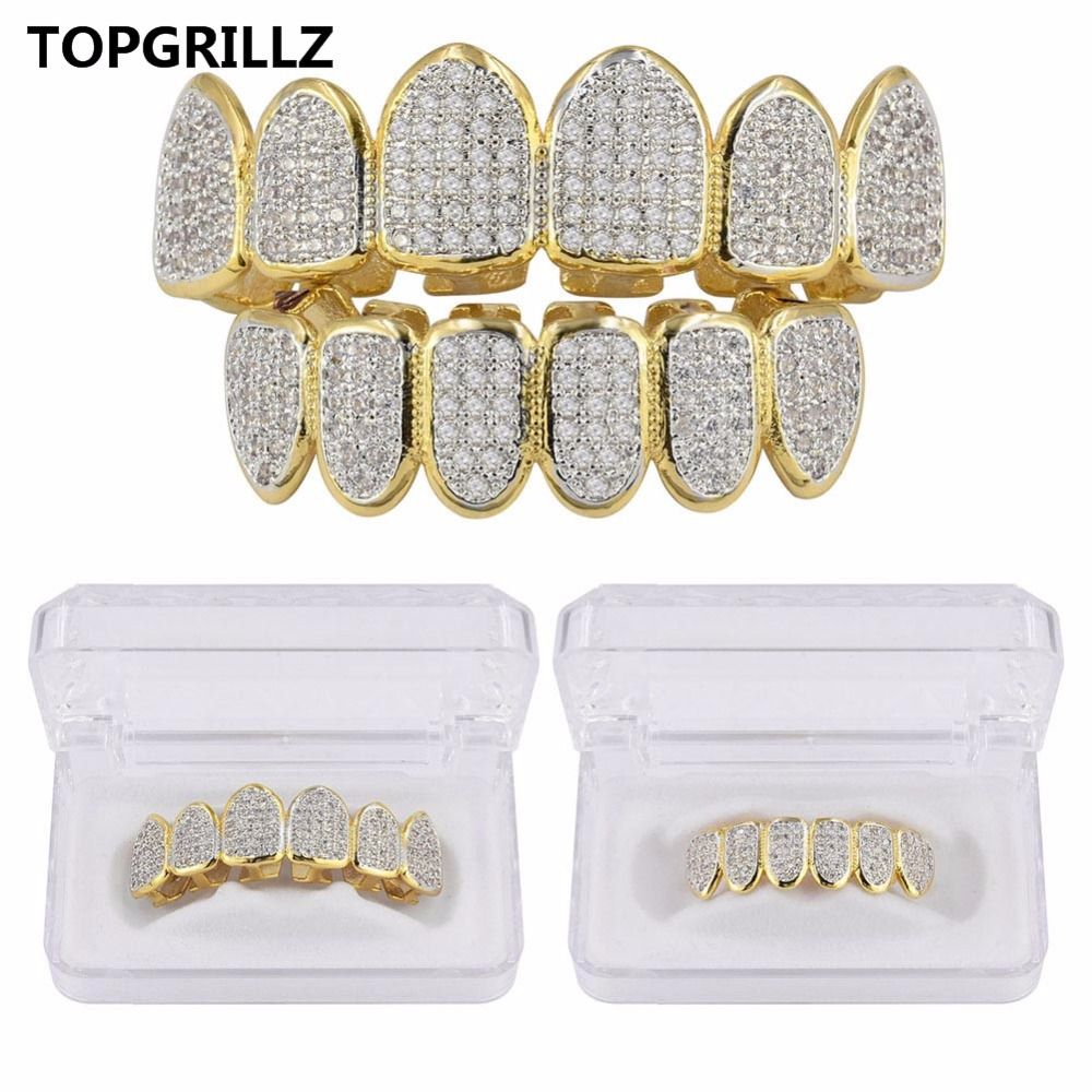 TOPGRILLZ Golden Color Plated CZ Micro Pave Exclusive Luxury Top&Bottom <font><b>Gold</b></font> Grillz Set Hip Hop Classic Teeth Grills