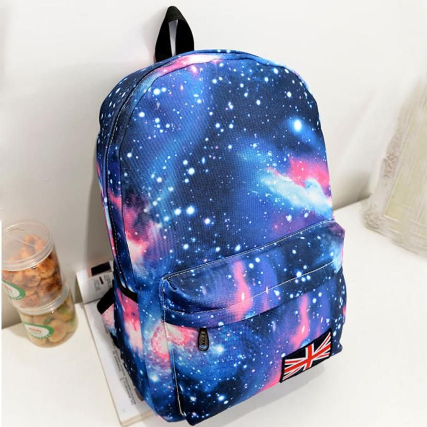 Transer Galaxy Pattern Unisex Travel Backpack Canvas Leisure Bags School Bag Travel Large Capacity Backpack Computer Package Z6
