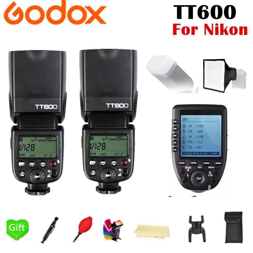 2x Godox TT600 TT600S GN60 2.4G Wireless TTL 1/8000s Flash Speedlite + Xpro-N Trigger for Nikon D3200 D3300 D5300 D7200 D750