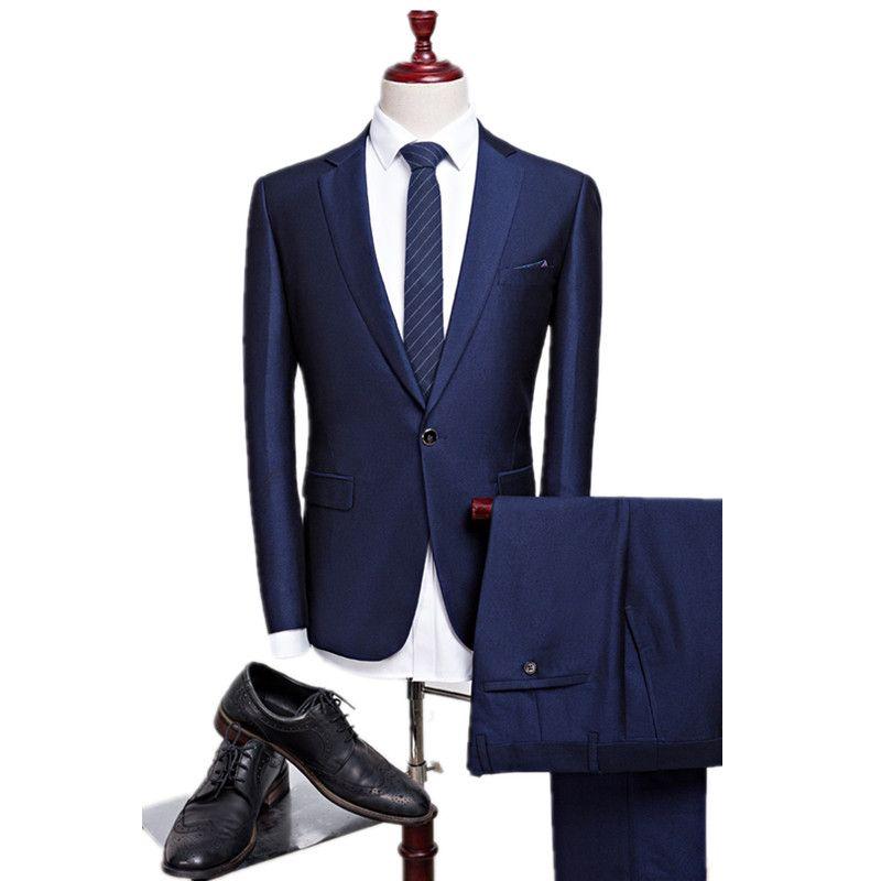 2016 new autumn wedding navy blue suits men,blazer men,men's navy blue business suits,men's Dress suits, size M-4XL