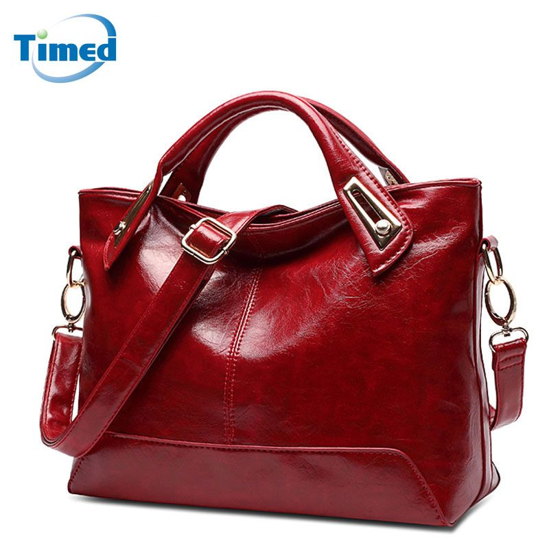 New Women's Handbags Casual All-Match Large Capacity Shoulder Bag Solid Lady High Quality Leather + PU Casual Totes