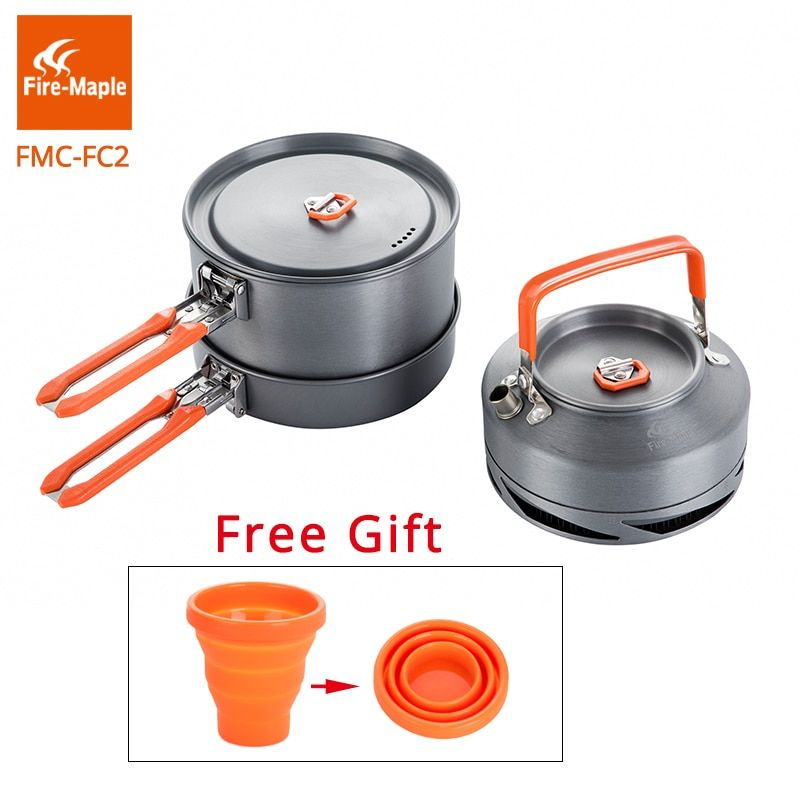 Fire Maple Outdoor Camping Cookware Set Backpacking Picnic 2 Pots 1 Frypan 1 Kettle Compact Foldable FMC-FC2 Brand Cooking Set