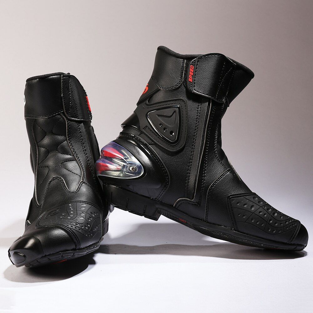 PRO Waterproof Leather Middle Cylinder Motorcycle Boots Foot and Ankle Protection Professional Motorcross Racing Boots A004