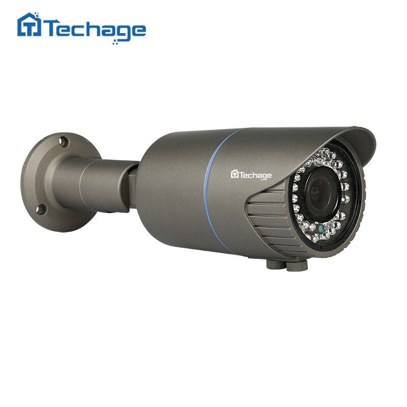Techage H.265 Home Security 4MP POE IP Camera Outdoor 2.8mm-12mm Motorized Zoom Auto Lens CCTV Camera IR Night View P2P Onvif