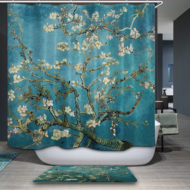 New Arrivals Shower Curtain American style rural Flowers plant Pattern Waterproof Bathroom Fabric Home Decorative Shower Curtain