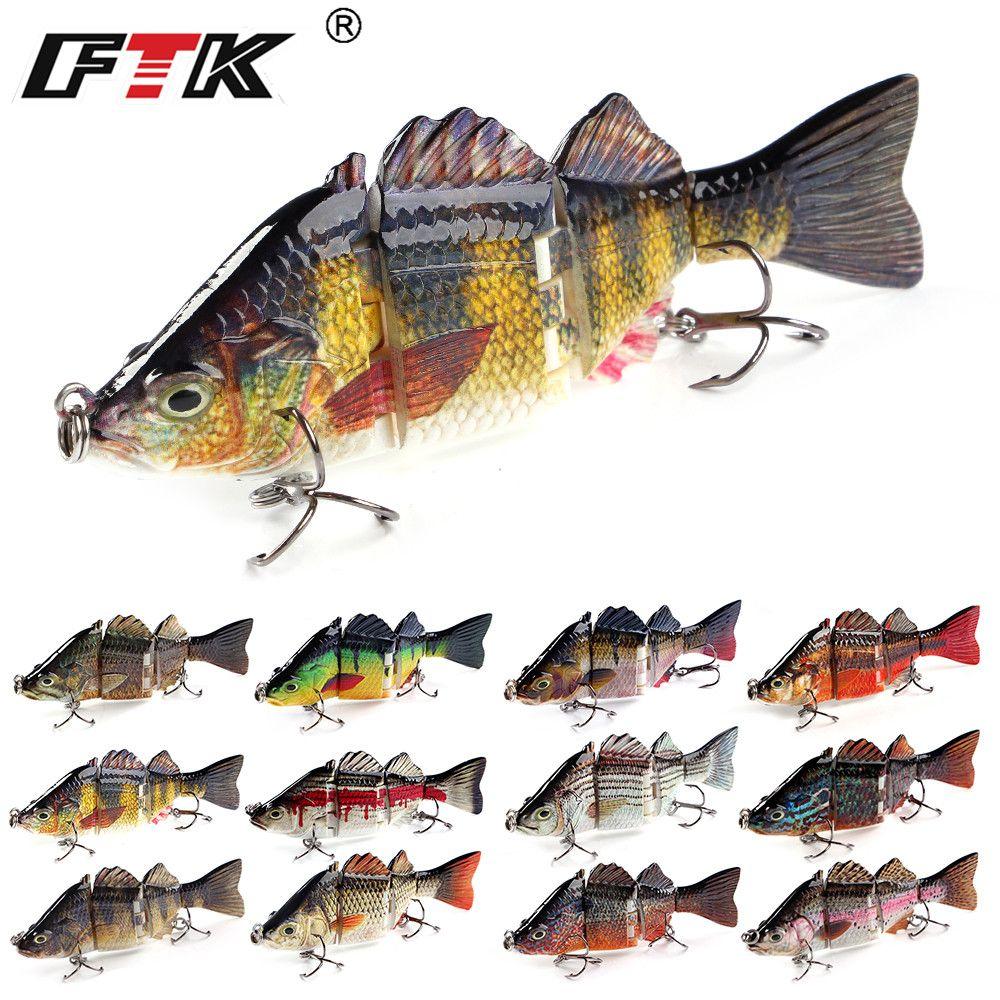 FTK Bass Fishing Lure Wobblers Tackle 4 Segments Swim Bait 1pc 100mm/20g Assorted Floating Hard Sinking Topwater Crankbait HF