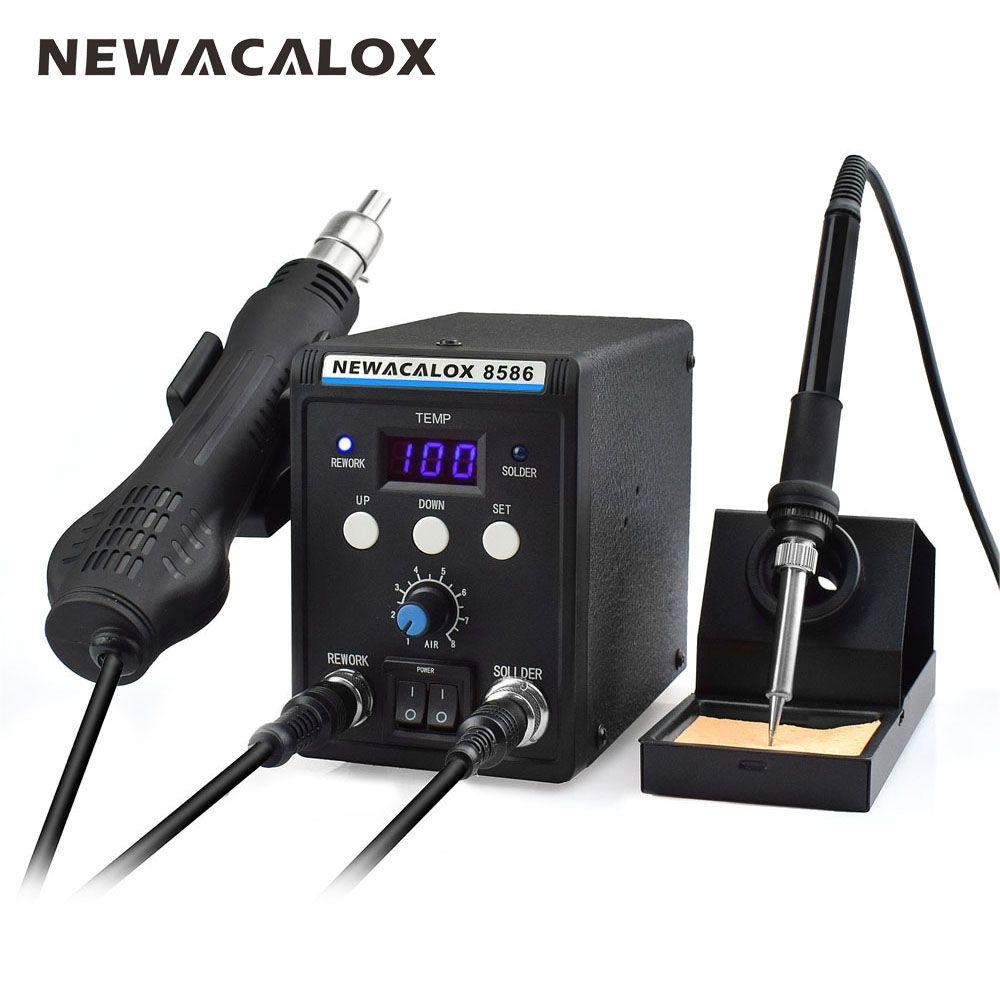 NEWACALOX 8586 220V 700W Lead-Free Soldering Station BGA Rework SMD Hot Air Gun Heat Eletric Soldering Iron Kit Tool Welding Tip