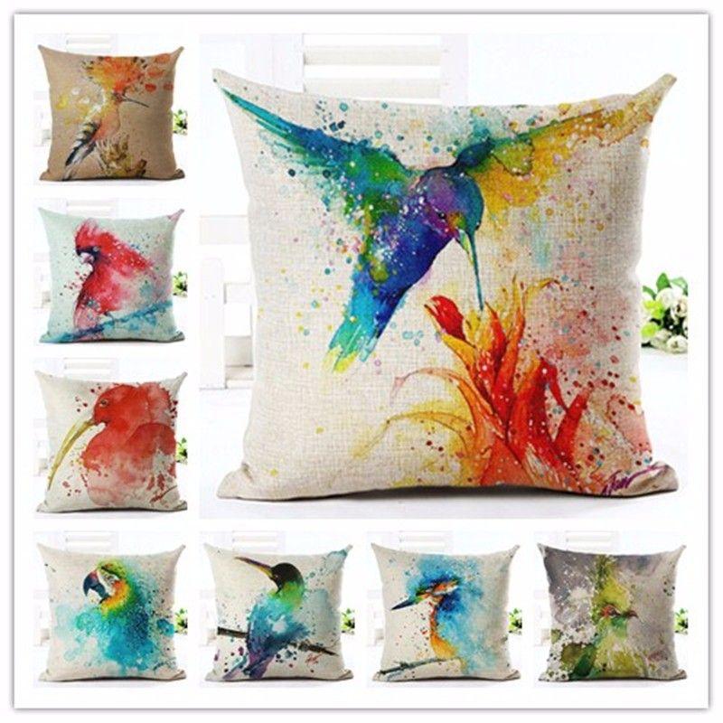 Europa Stil bunte Vogel ölgemälde Baumwolle Leinen Kissenbezug Bed Kissenbezüge Mode Werfen Kissenbezüge Dekorationen