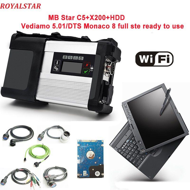 MB Stern C5 scanner mit HDD/SSD V09.2018 software in Laptop X200t PC wifi unterstützung für MB Fahrzeuge ganze diagnose C5 SD verbinden