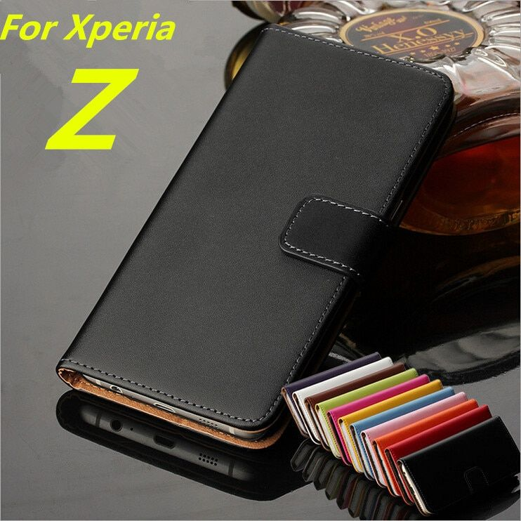 Premium Leather Wallet Flip Cover Case for Sony Xperia Z L36h C6602 C6603 with Card Slots and Cash Holder Phone shell GG