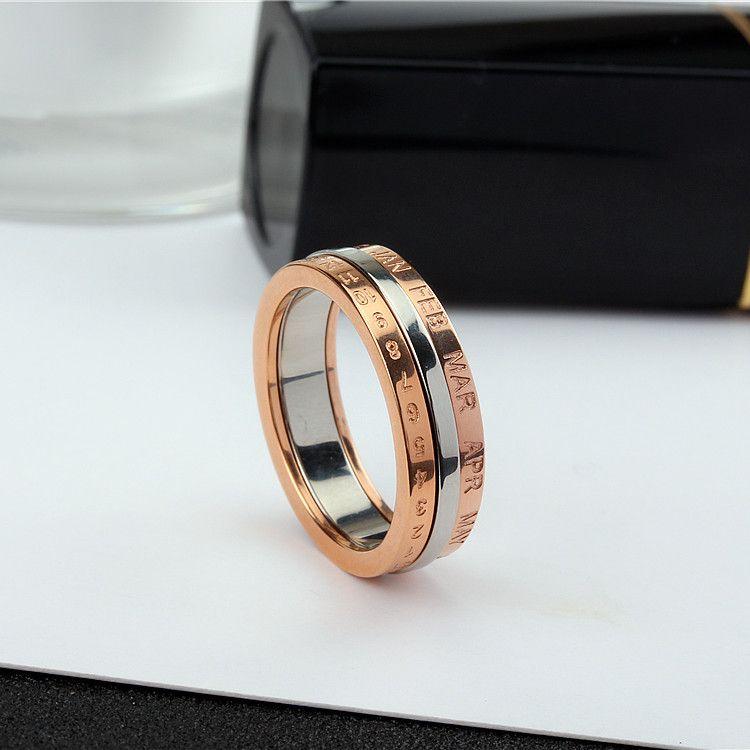 YUN RUO 2017 or Rose personnalité rotatif numéro anneau pour femme homme cadeau 316L acier inoxydable bijoux haut polonais ne se décolore jamais