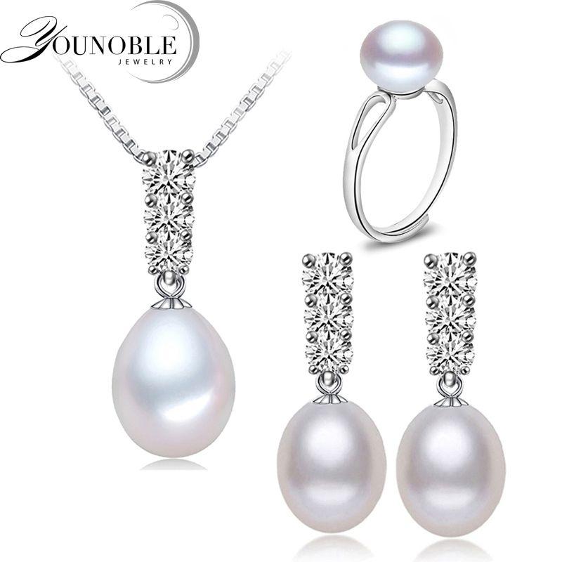 Younoble moda natural perlas collar set mujeres freshwatewr perla joyería collar pendiente Africana Juegos de joyería blanco 45 cm