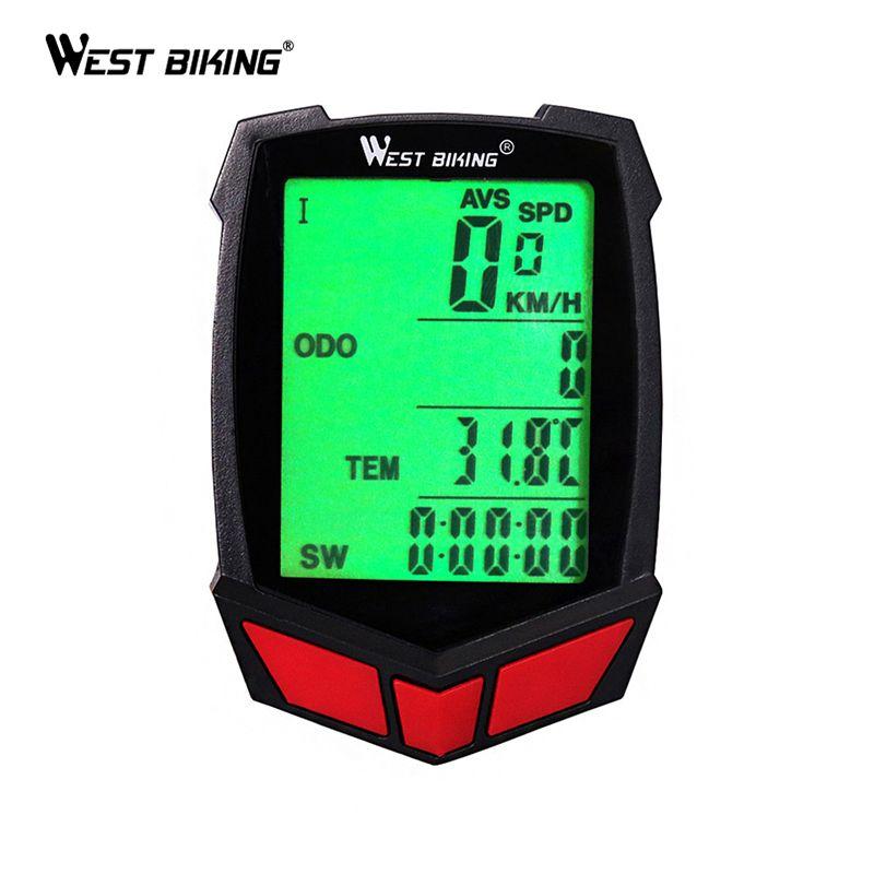 WEST BIKING Bike Computer Waterproof 20 Functions Speedometer <font><b>Odometer</b></font> Cycling Luminous LED Wired/ Wireless MTB Bike Stopwatch