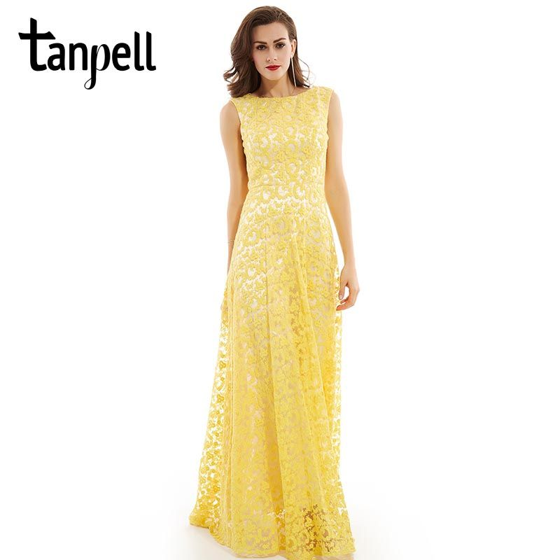 Tanpell lace long evening dress daffodil scoop sleeveless floor length dress a line appliques off the shoulder new evening gown