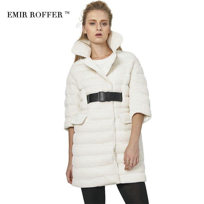 EMIR ROFFER 2017 Italy Women's Down Jacket Fashion Belt White Mesh Parka Female Half Sleeve Large Size Coat Spring Autumn