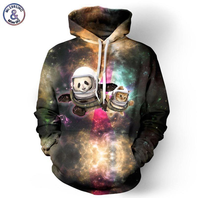 Mr.1991INC Autumn Winter Hooded Hoodies For Men/Women Space Galaxy 3d Sweatshirt Funny Print Panda Astronaut Hoody Tracksuits