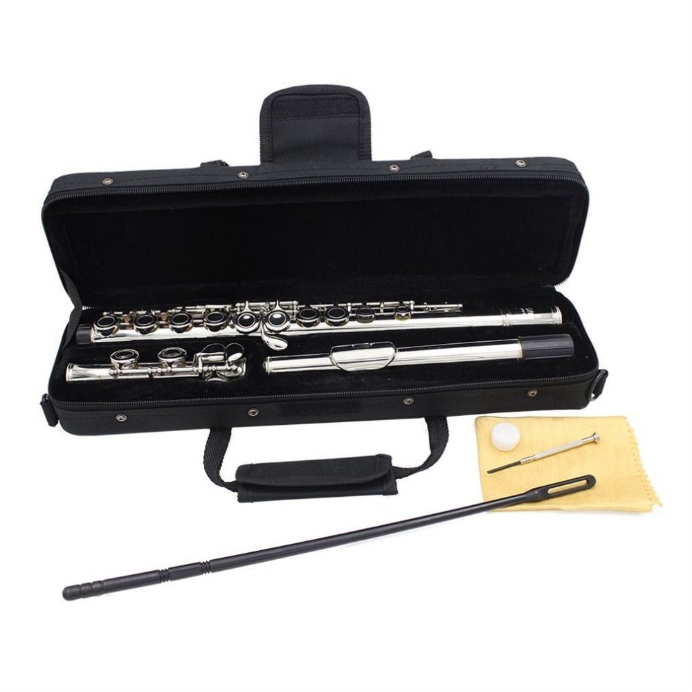 Silver Plated 16 Closed Holes Flute C Key Western Concert Musical <font><b>Instrument</b></font> With Cleaning Cloth Stick Gloves Screwdriver