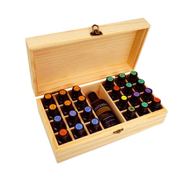 25 Trous Huiles Essentielles En Bois Boîte 5 ml/10 ml/15 ml Bouteilles SPA Club DE YOGA Aromathérapie De Stockage cas Organisateur Container