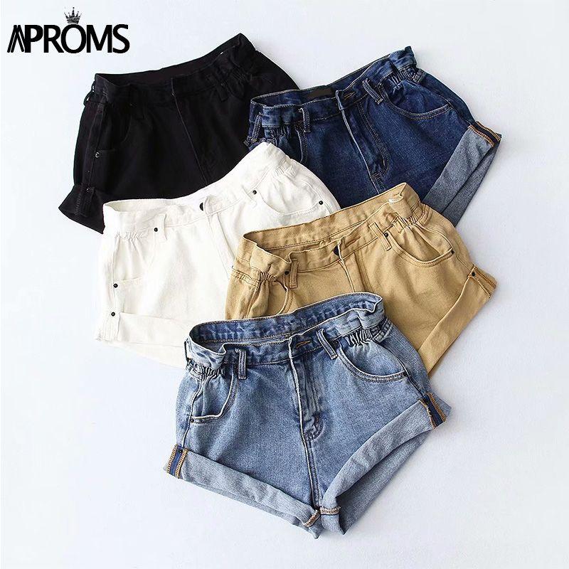 Aproms Casual Blue Denim Shorts Women Sexy High Waist Buttons Pockets Slim Fit Shorts 2019 Summer Beach Streetwear Jeans Shorts