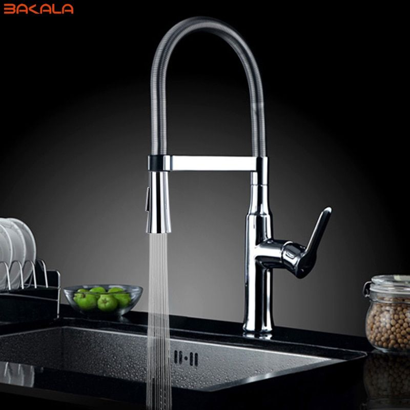 BAKALA En Laiton torneira cozinha cuisine robinets d'eau chaude et froide chrome bassin évier cozinha carré robinets mélangeurs BR-9202