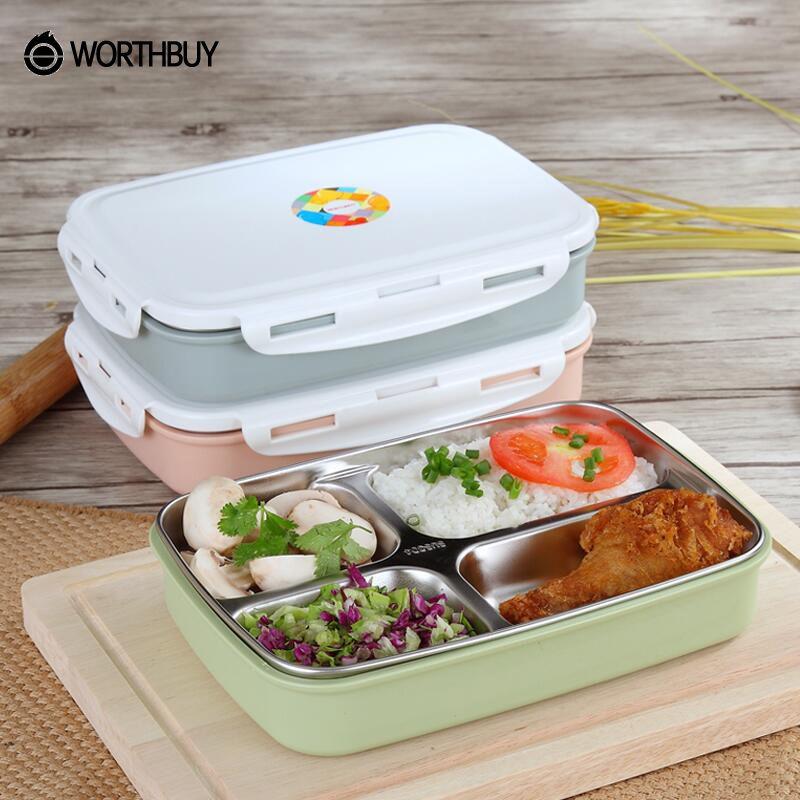 WORTHBUY 304 acier inoxydable Japonais tupperware Avec Compartiments Micro-ondes Bento Box Pour Les Enfants conteneur à nourriture pique-nique