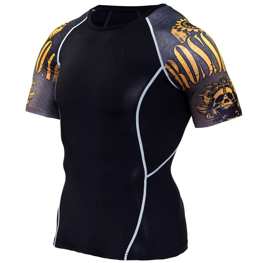 Nouvelle chemise de Compression épissure manches Fitness hommes loup crâne Anime 3D t-shirt MMA manches courtes entraînement musculation t-shirt