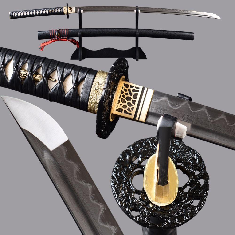Full tang sharp japanischen sword katana damast lehm ausgeglichenem blade samurai sword echt leder griff messer metall home display