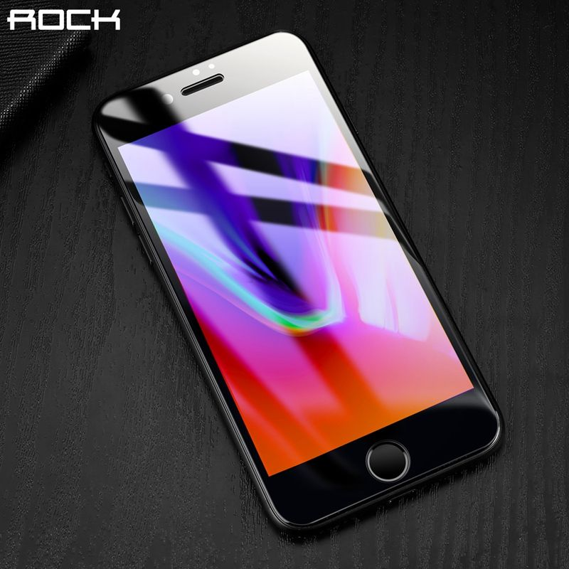 3D Curved Full Screen Protector For iPhone 8 8 plus, ROCK 9H 0.26MM Full Tempered Glass High Clear Film For iPhone 8