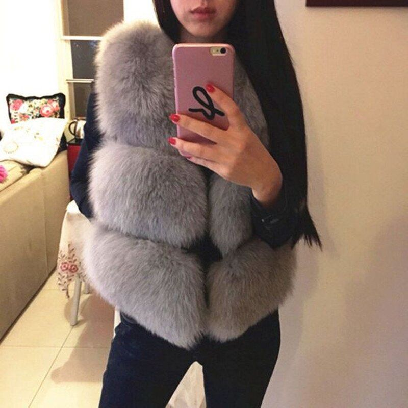 2016 New Autumn Winter Fox Fur Vest Faux Fur Women Jacket Mink Waistcoat Outerwear Short Paragraph Fur Coat Christmas Cardigans