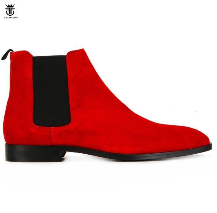 FR. LANCELOT 2018 neue herren wildleder stiefel Britischen stil männer rot stiefel slip auf hochzeit schuhe männlichen chelsea booties