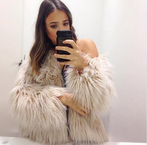 women Short long sleeves big size washed wool lamb fur imitation women's wear