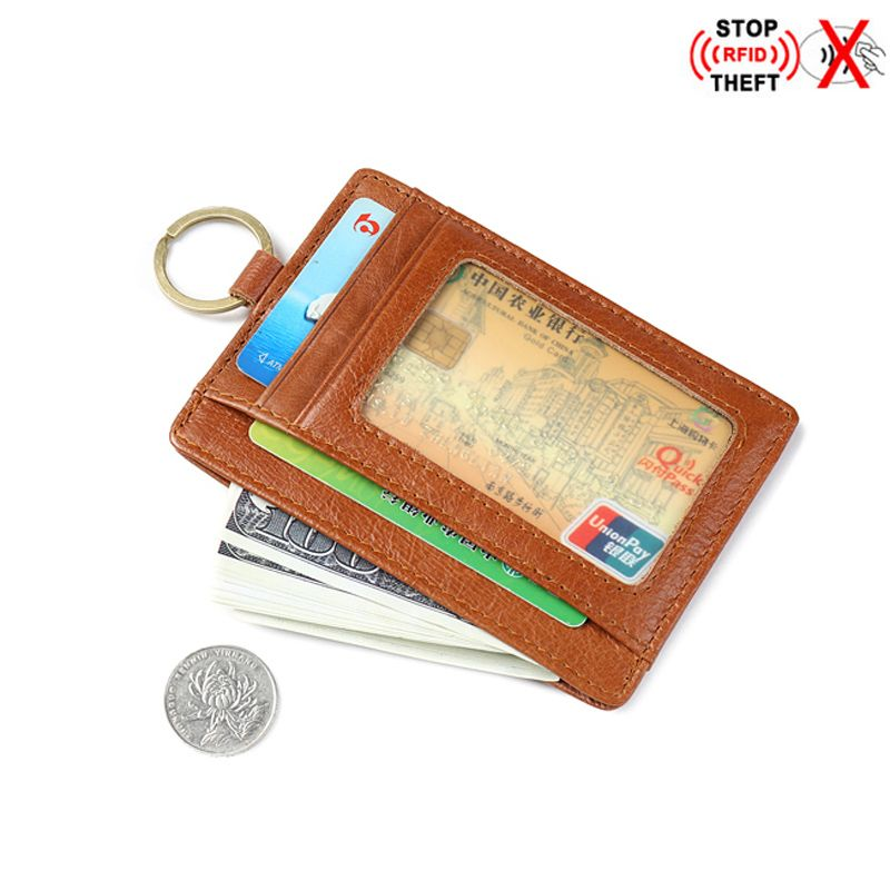 Porte-cartes de crédit en cuir véritable Rfid avec porte-clés Porte-monnaie Porte-cartes portefeuille de voyage Porte Carte hommes Mini portefeuille