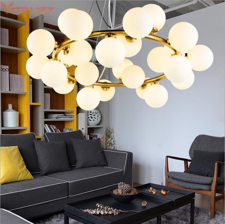 Nordic Chandelier Lights luminaires suspendus hanglampen LED Lighting Fixture Black Gold Magic Bean Hanging Lamps Bubble Lamp