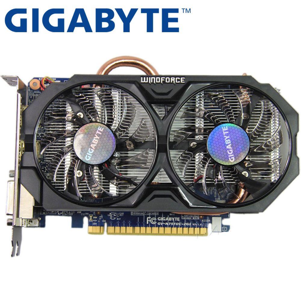 GIGABYTE Grafikkarte Original GTX 750Ti 2 GB 128Bit GDDR5 Grafikkarten für nVIDIA Geforce GTX750Ti Hdmi Dvi Verwendet VGA karten