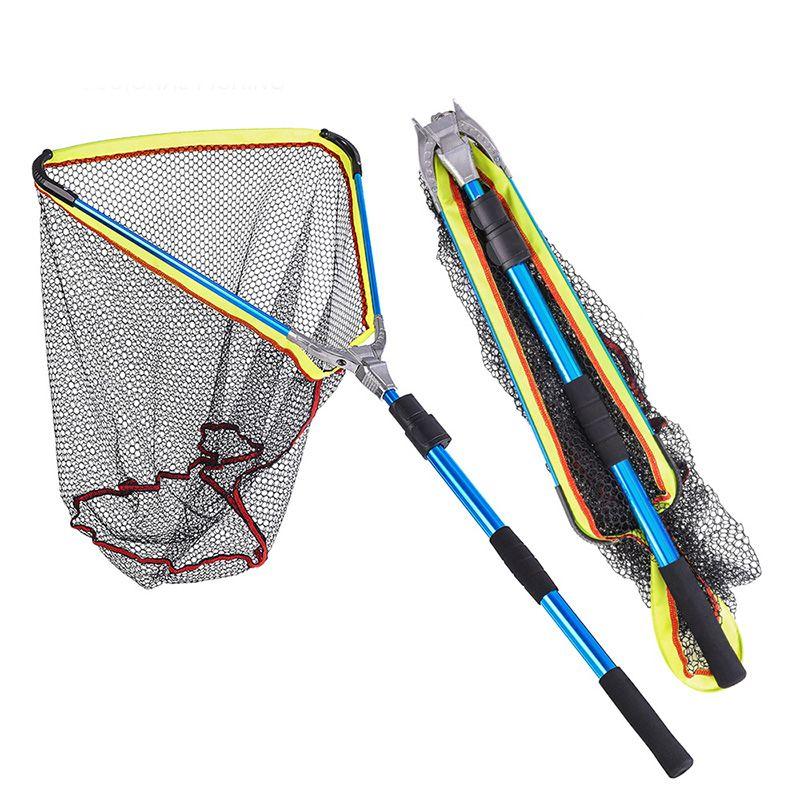 Blue 2m Portable Triangular Folding Fishing Landing Net Telescopic Extending Pole Handle