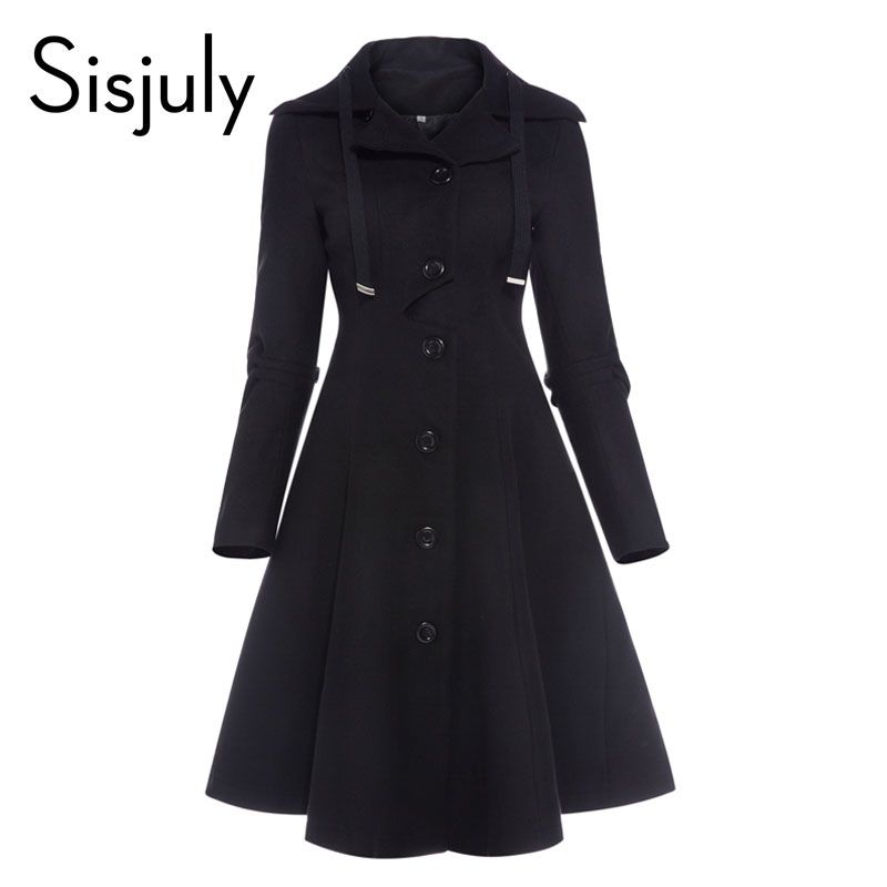 Sisjuly women coat autumn black vintage gothic a line elegant winter asymmetric overcoat goth lace up natural retro solid coats