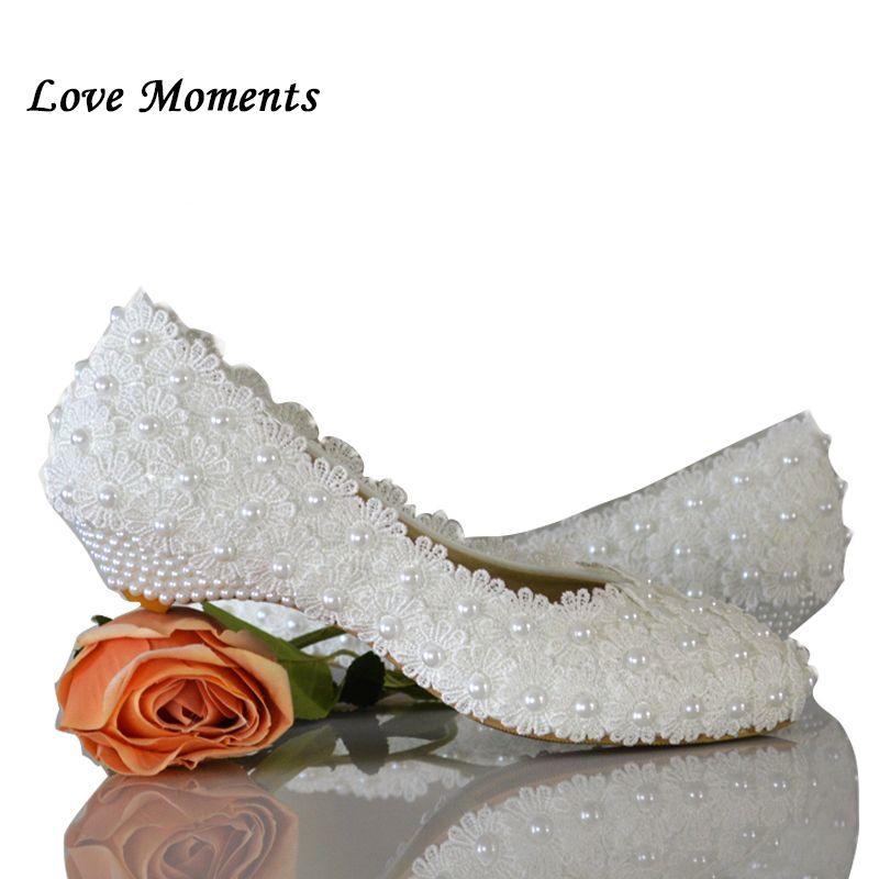 Love Moments blanc fleurs perle chaussures de mariée à talons bas bout rond mode chaussures pour femmes chaussures de fête chaussures de mode femme